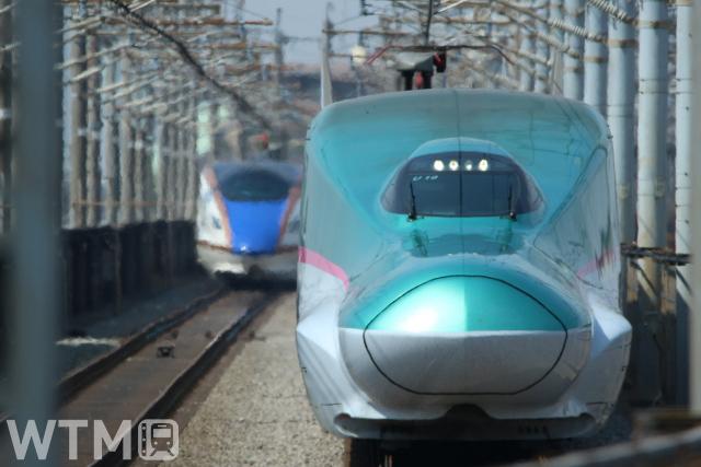 北陸新幹線E7系(左)と東北・北海道新幹線E5系とのすれ違い(kiss x7/写真AC)