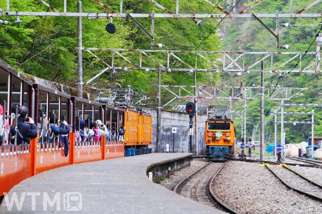 猫又駅で行き違い待ちをする黒部峡谷トロッコ電車(ジョーナカ/写真AC)