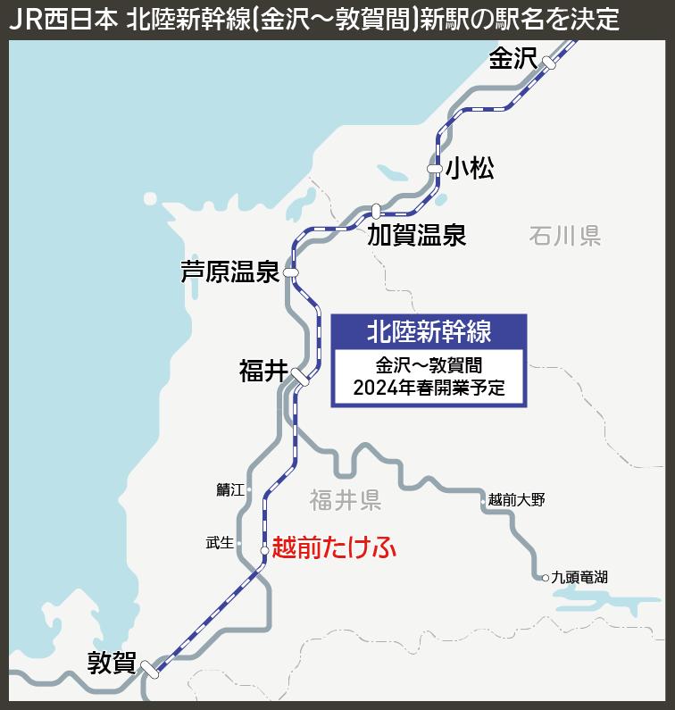 【路線図で解説】JR西日本 北陸新幹線(金沢〜敦賀間)新駅の駅名を決定