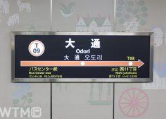 札幌市営地下鉄東西線 大通駅の駅名標(つるゆき/写真AC)