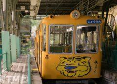 信貴山のキャラクター「しぎとらくん」が描かれた近鉄西信貴ケーブルの車両(uopicture/写真AC)