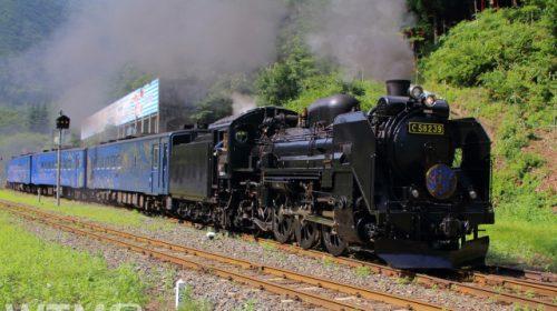 陸中大橋駅を発車するJR東日本「SL銀河」C58形239号機蒸気機関車(実生の桃/写真AC)