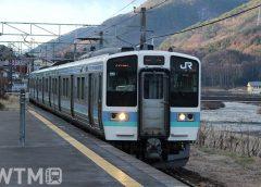 中央本線川岸駅に到着するJR東日本211系電車(たまくじら/写真AC)