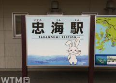 呉線忠海駅「うさぎの楽園 大久野島」をPRする駅名標(Mana060830/写真AC)