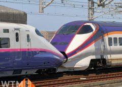 東北・山形新幹線E2系(左)とE3系1000番台の併結編成(HK-SAN/写真AC)