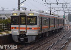 飯田線沢渡駅を発車するJR東海313系電車(Katsumi/TOKYO STUDIO)