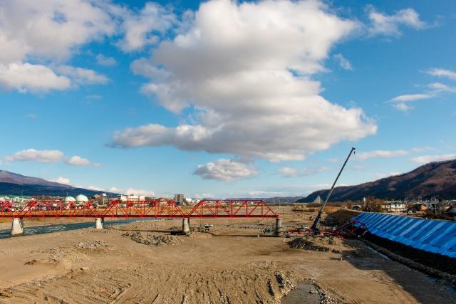復旧工事により元の姿を取り戻す上田電鉄別所線の千曲川橋梁
